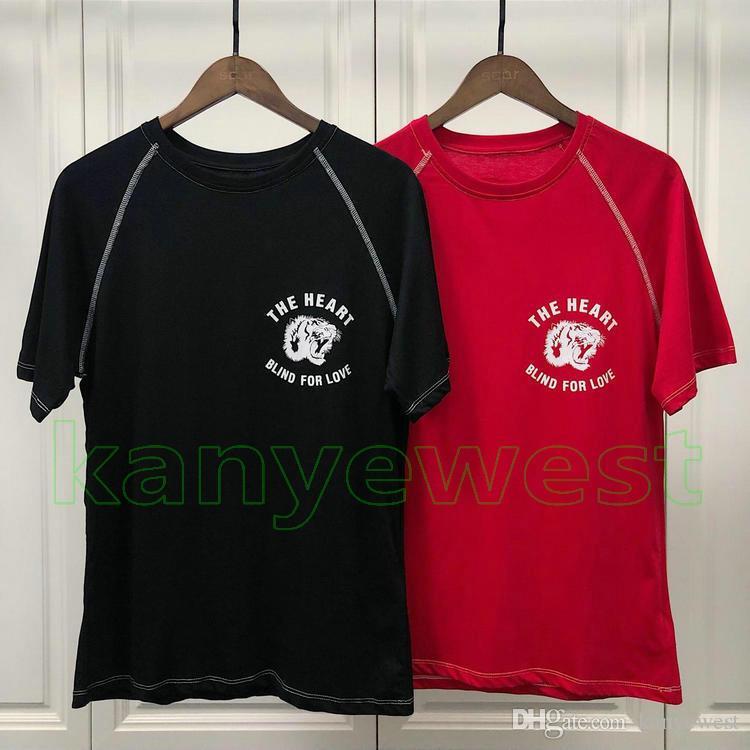 09497c134 2019 Europe Luxury Mens Tiger Head Printing T Shirt Top The Heart Blind For Love  T Shirt Men Cotton Casual Embroidery Spiriyismo TShirt Mens Dress Shirt ...