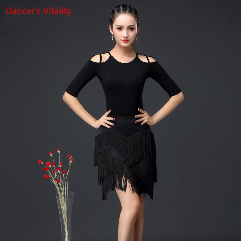 64e206e8e4ac5 2019 New Fashion Women Dance Costumes Top+skirt Latin Salsa set Samba Suits  Women Practice Latin Dance Performance Clothing