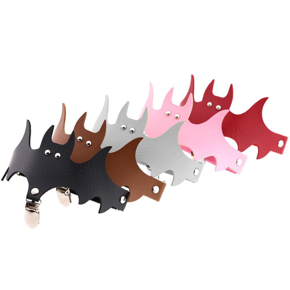 Fashion Women Bat Wings PU Leather Choker Garter Belt Leg Ring Clip Halloween Decor Accessories HSJ88