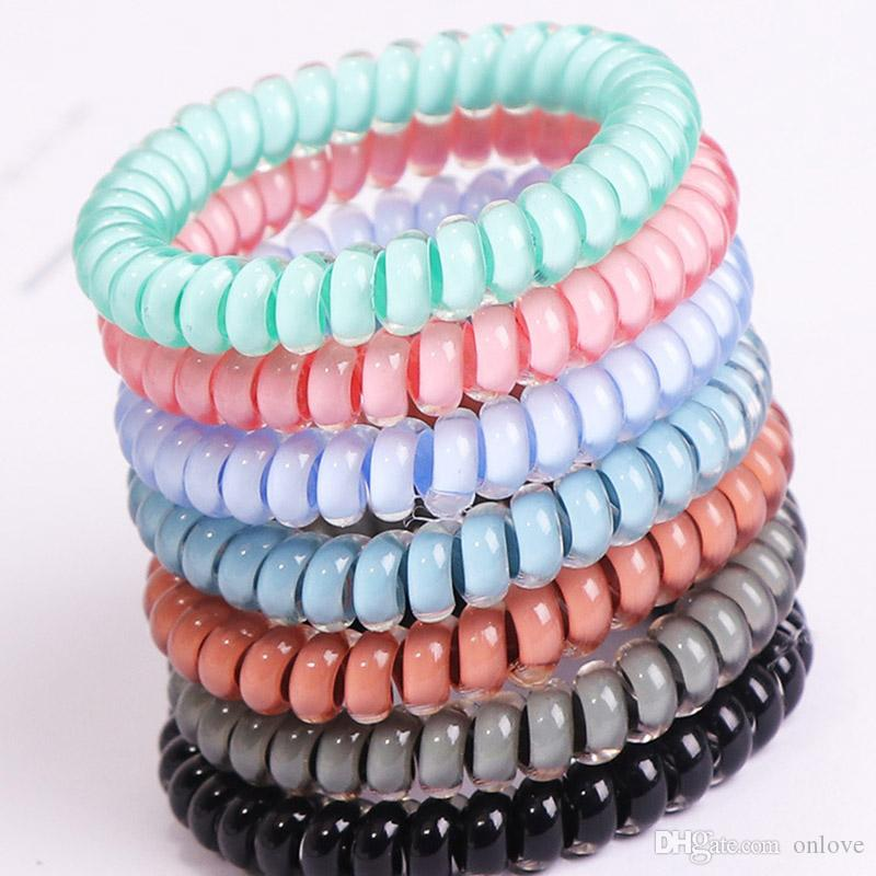 24 Colors Telephone Wire Cord Cum Hair Tie Girls HairBand Ring Rope Bracelet Hair Accessories 4cm Party Favor Gifts XD20345