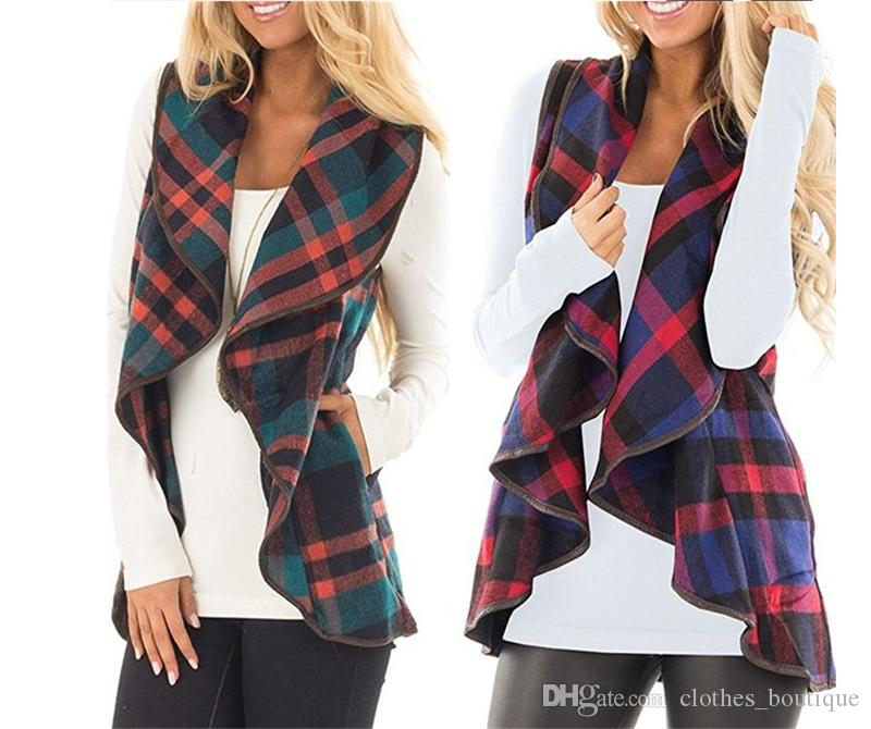 Womens Sleeveless Open Front Hem Plaid Vest Cardigan Jacket with Pockets 2019