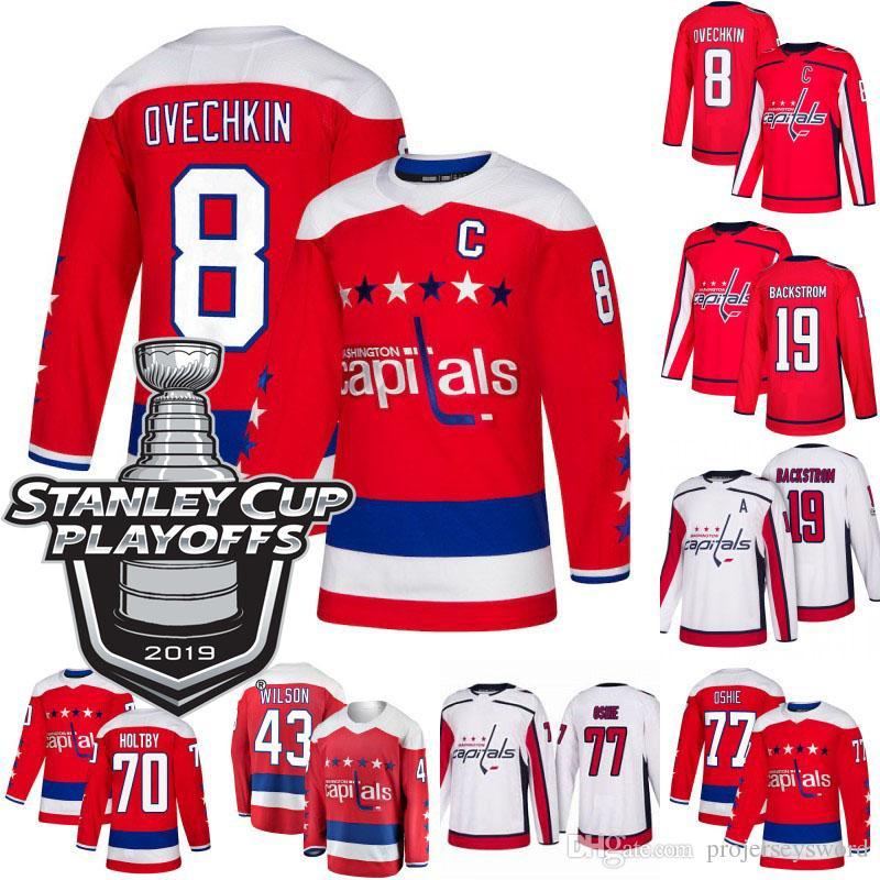 online retailer c5ac9 f484a 2019 Stanley Cup Playoffs 8 Alex Ovechkin Washington Capitals Jersey 19  Nicklas Backstrom 43 Tom Wilson 70 Braden Holtby John Carlson Jersey