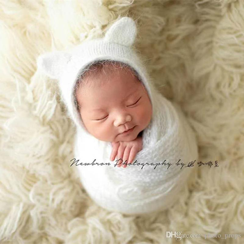 e92b3f8747c Hand Knit Bear Hat Teddy Bonnet Baby Boy Girl Hat Newborn Photo Props Loopy  Hat With Ears Props UK 2019 From Photo props