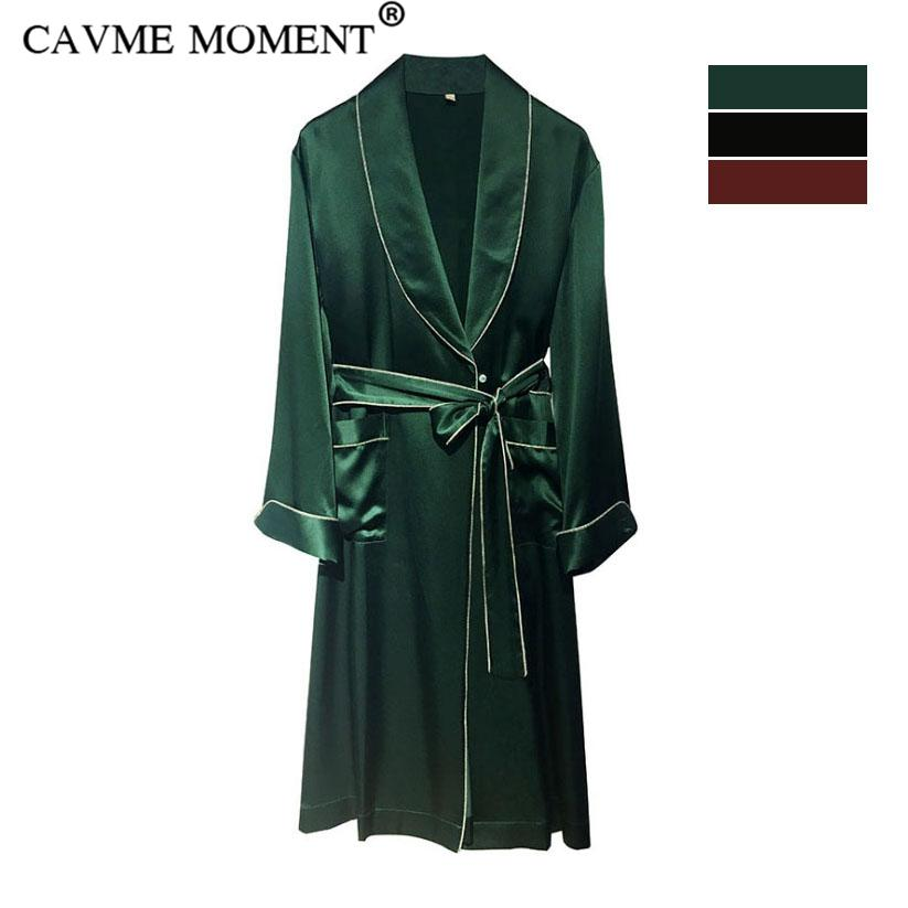 CAVME Luxury Silk Robes for Women Elegant Sleepwear Long Lounge Full Sleeve Nightgown Robe Turn-down Collar Solid Color