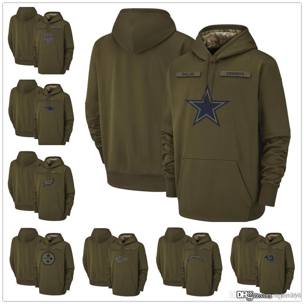 online store 2bb7a e2036 Dallas Cowboys Raiders Philadelphia Eagles Steelers 2018 Olive Salute to  Service Pullover Hoodies