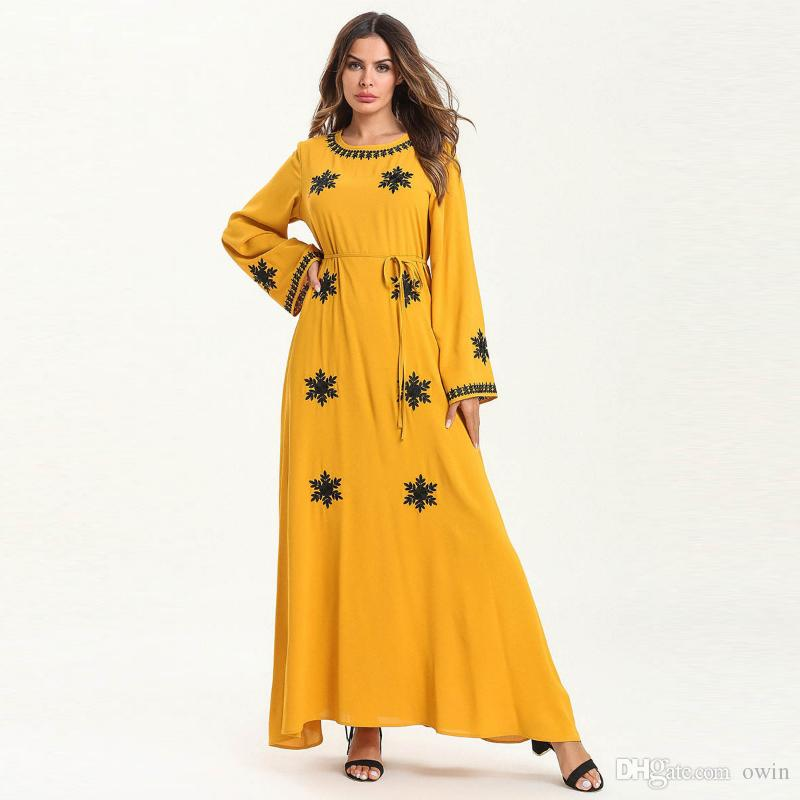 Large size clothing Women Long Sleeve O Neck Snow Embroidery Irregular Hem Casual High Waist Plus size Maxi dress for ladies muslim robe