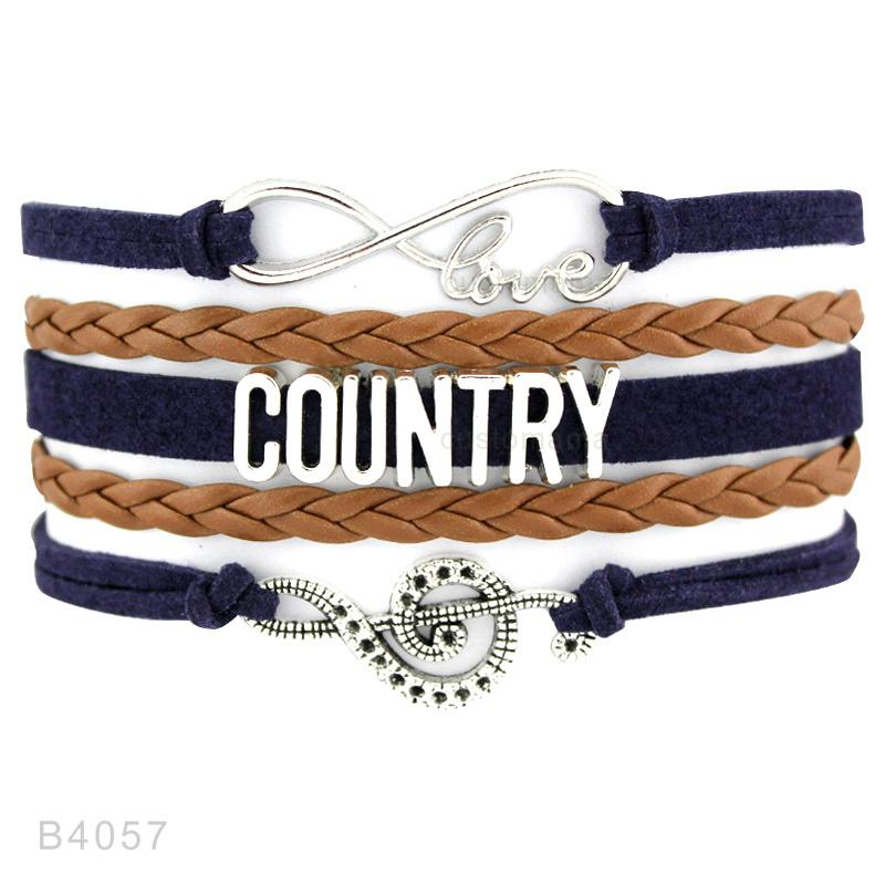 Cowgirl Country Boy Girl Cowboy Hat Boots Infinity Charm Bracelets Antique Silver Handmade Adjustable Jewelry Women Men Gift
