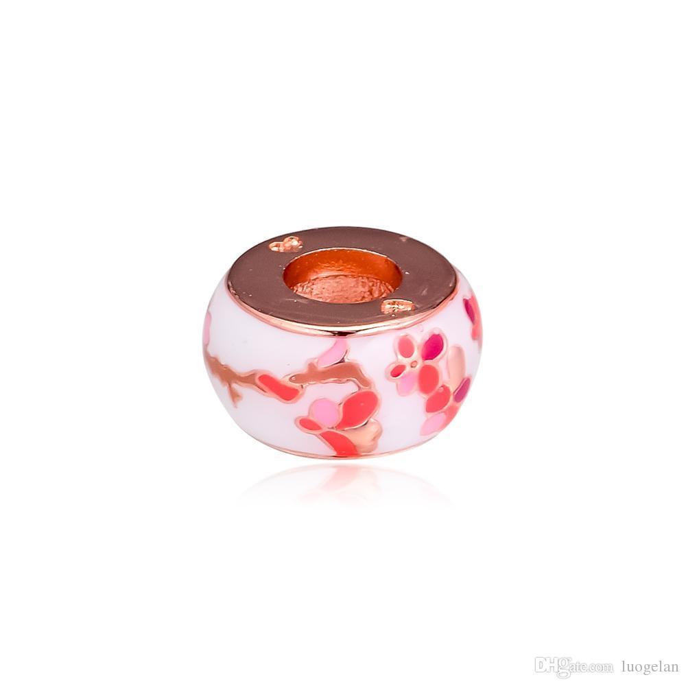 2019 original 925 sterling silber schmuck rose pfirsich spacer blume charme perlen passt europäischen pandora armbänder halskette für frauen machen