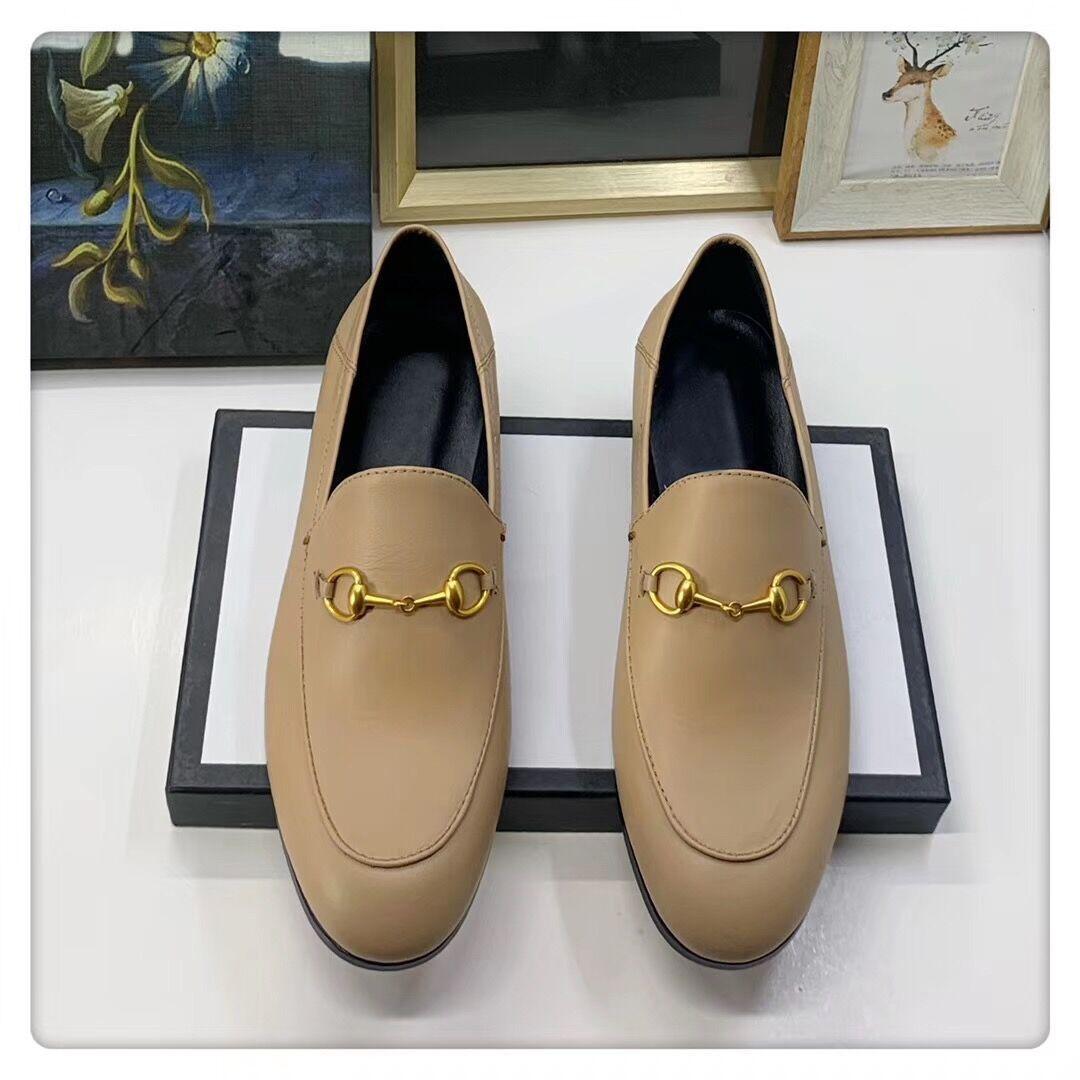 Designer Dress shoes 100% leather Metal buckle luxury Flat women casual shoes Alphabet velvet men Classic Trample Lazy boat shoes size 34-45