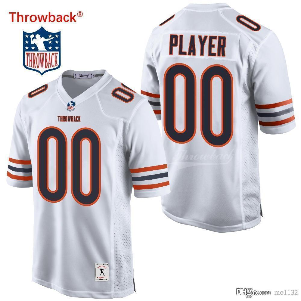 outlet store 55a29 6e6c6 Throwback Jersey Men s Chicago American Football Jerseys Customized Jersey  Any Name Number Colour White Free Shipping Cheap
