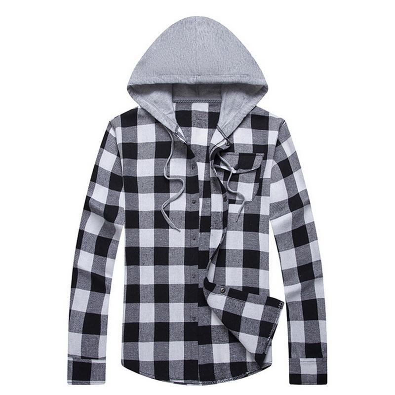 28313d33ae2 WENYUJH 2019 Men Casual Plaid Shirt Cotton Long-sleeves Mens Hooded ...