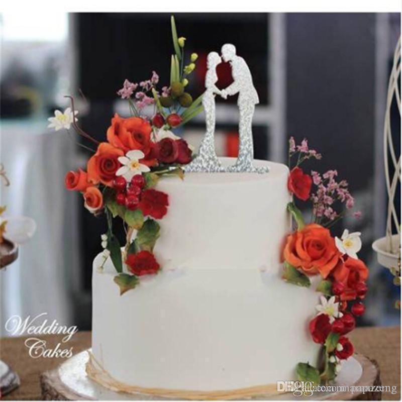 Grosshandel Hochzeitstorte Topper Dekoration Acryl Silber Glitter Gold Braut Brautigam Party Dekoration Event Party Supplies Festliche