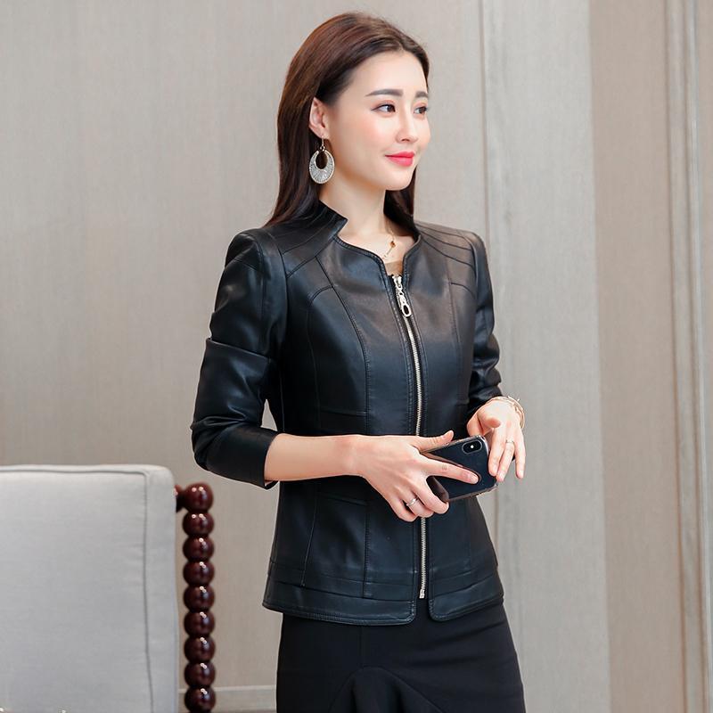 a61e91d1f1d4 Chaquetas De Cuero Mandarin Collar Mujer Real Full Zipper Leather ...