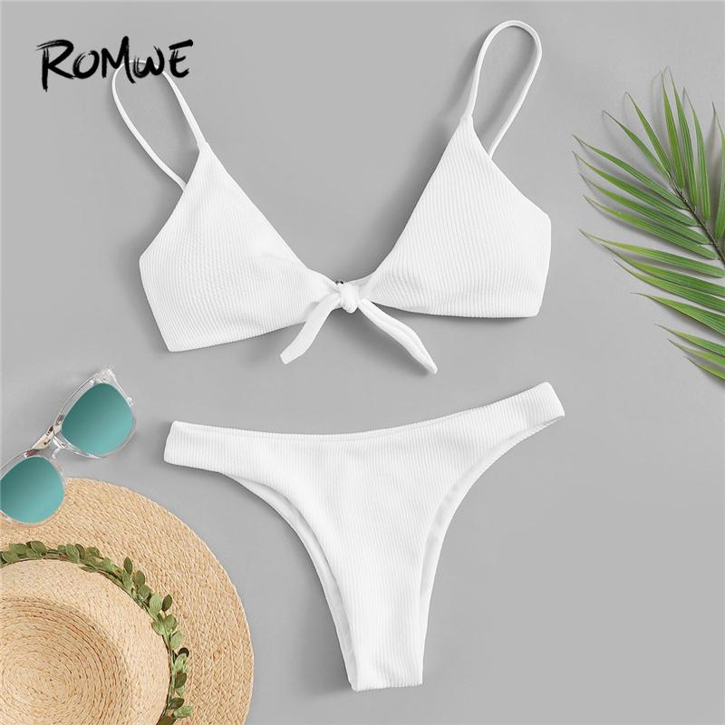 f770b5e5c74f4 2019 Sport White Solid Tie Front Ribbed Bikini Set Spaghetti Strap Knot  Wireless Swimsuit Women Summer Beach Bathing Suits From Longan08, $23.31 |  DHgate.