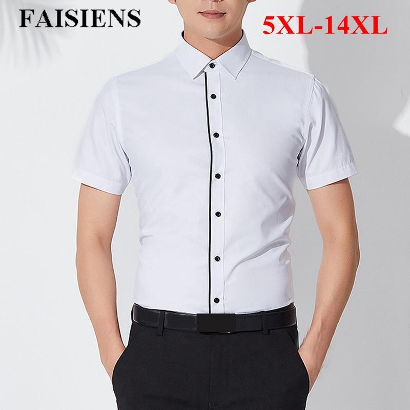 c21f684cfda7e Compre FAISIENS Verano Fino Camisas De Vestir Para Hombre Camisa Con Cuello  Redondo Manga Corta Sólido Azul Rosa Blanco 10XL 11XL 12XL 14XL Hombres  Camisa ...
