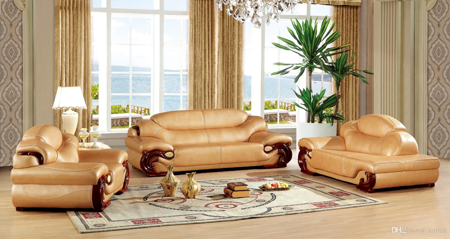 excellent wholesale shoe racks high capacity living room furniture   2019 Royal Antique European Leather Sofa Set Living Room ...