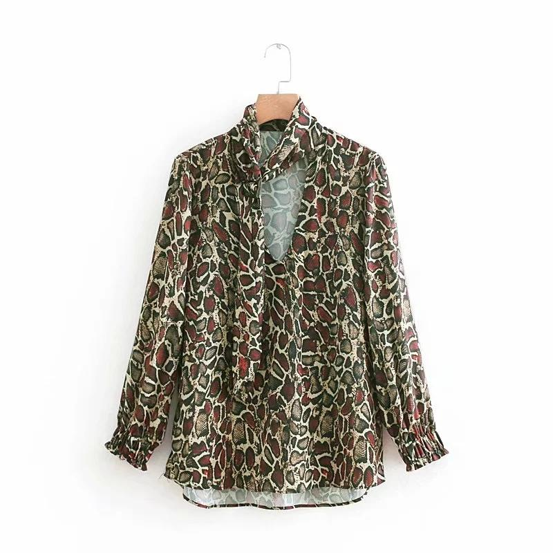131c9b7f3da 2019 Fashion Office Lady Blouses Long Sleeve Spring Tie V Neck Top Femme  Elegant Women Work Animal Texture Printed Casual Shirts Fall From Erzhang,  ...