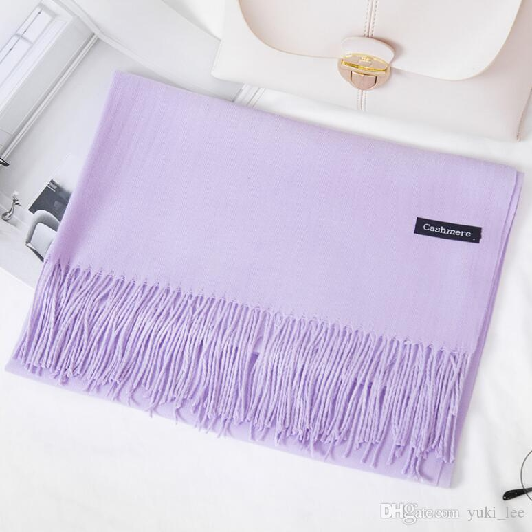 f6d562b70828f HoT Sale 2018 Mixed Cashmere Solid Color Shawl Wrap Women'S Plain Scarf  Soft Fringes Solid Scarf Size:200*70cm Hair Scarves Cashmere Scarves From  Yuki_lee, ...