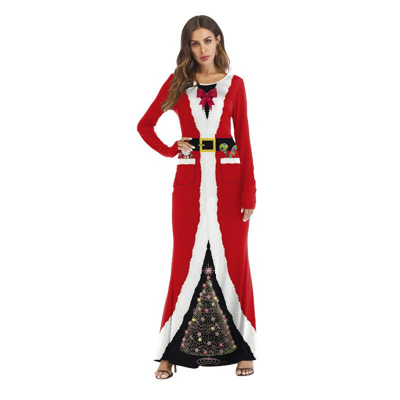 2481f5f7691ac 2018 New Women Christmas Clothes Cosplay Party Dress Santa Claus Long  Sleeve Dress Ladies Christmas Day Dresses Womens Sun Dresses Cheap Evening  Dress From ...