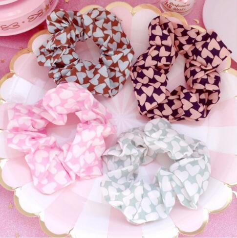 ed163bc53e3c1 Free shipping Fashion women pretty heart printed Hair bands cute hair  scrunchies girl s Tie Accessories Ponytail Holder