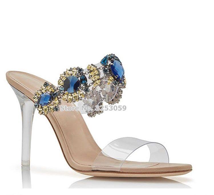17af56a9109 Wholesale Bling Bling Turquoise Gem Beaded Clear Heel Sandals Gorgeous Gold  Silver PVC Strap Stiletto Heels Sadansl Wedding Shoes Boys Sandals Dansko  ...