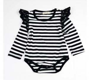 b0d02cee387 2019 Baby Girls Flying Sleeves Lace Rompers Infant Romper Solid Color Stripe  Lace Children Jumpsuits Newborn Clothes Kids Clothing IIA292 From B2b life