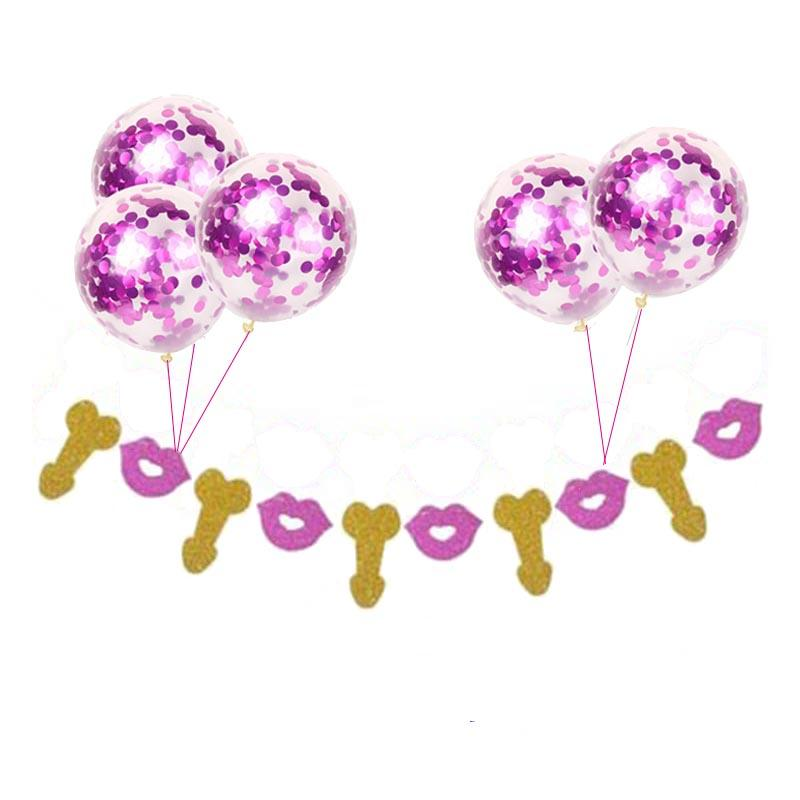 Gold Same Penis Forever Dick Banner Pink Confetti Balloons Hen Party Decorations Adult Bachelorette Party Wedding Supplies