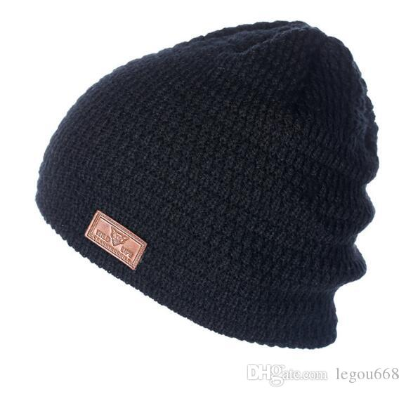 6b28005a2 Men's Leather Mark Wool Cap Double Thickened Headgear Warm Knitted Cap Ear  Protector W639