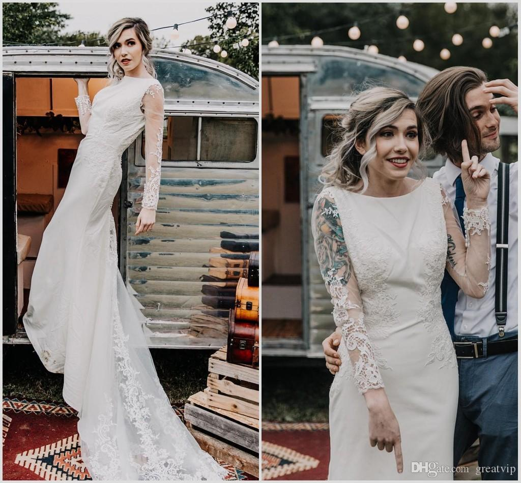 580447faf83 2019 Long Sleeve Bohemian Mermaid Wedding Dresses Lace Appliques Backless  Beach Plus Size Country Bridal Gowns Boho Chic Vestido De Festa Gown Style  Ivory ...