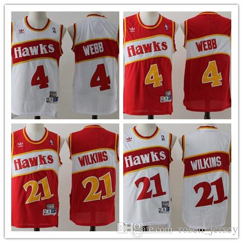 a4119412aa8 Retro Mens 4 Spud Webb 21 Dominique Wilkins Jersey 100% Embroidery ...