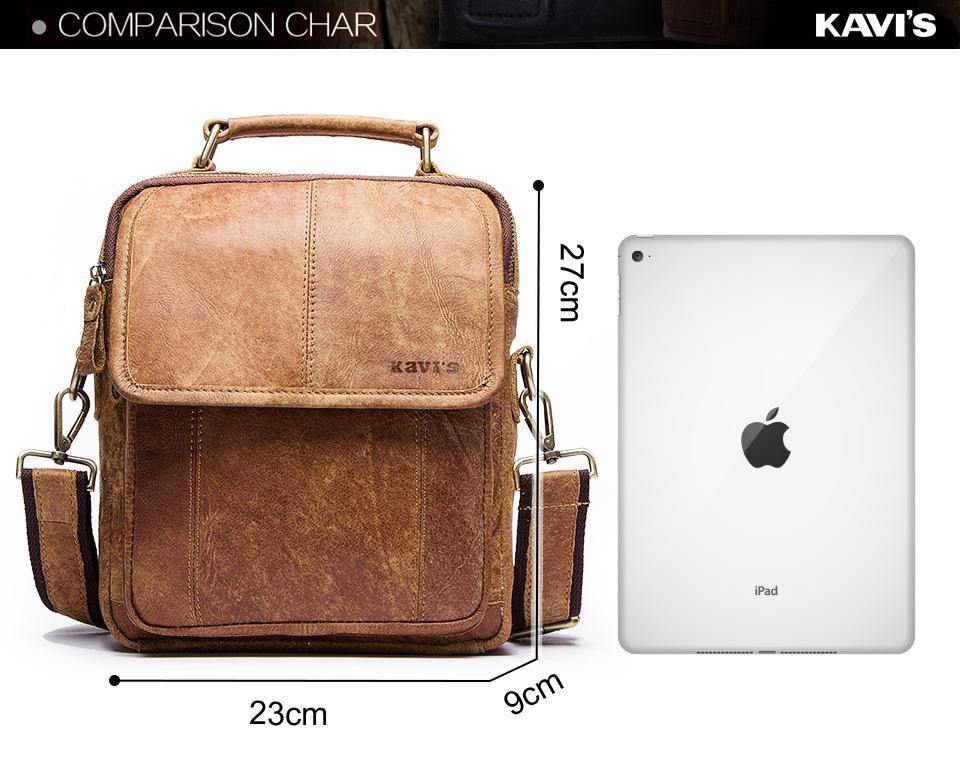 KAVIS Vintage Flap Genuine Leather Men Bag Famous Brand Design High capacity Briefcase For Travel Cow Messenger Bags Fashion