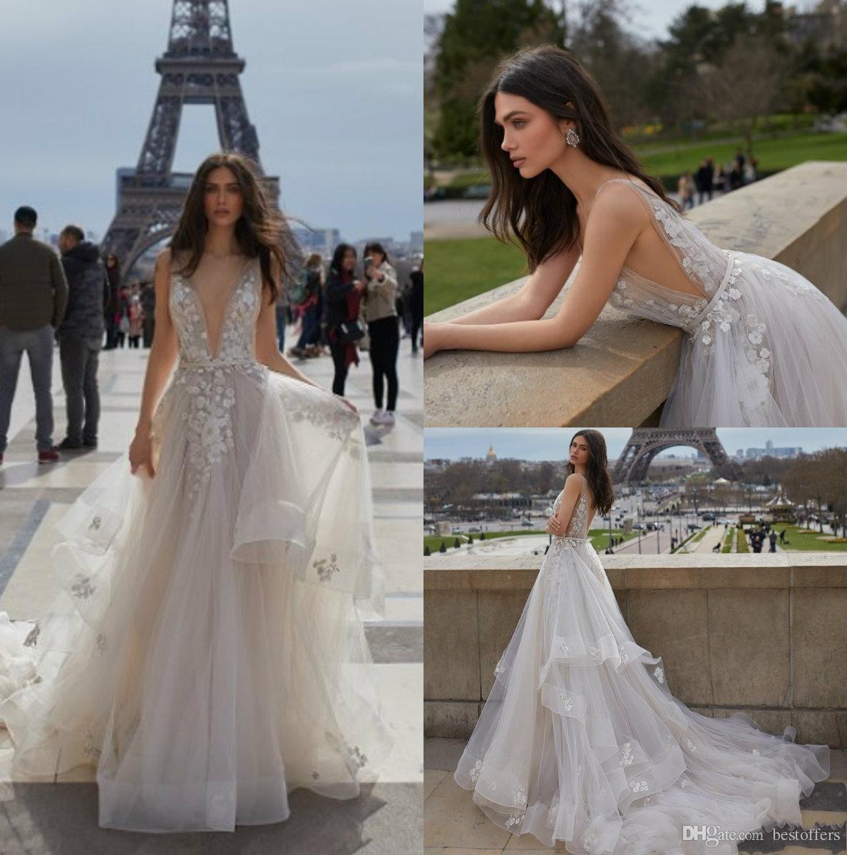 Discount Julie Vino 2019 New Backless Wedding Dresses V