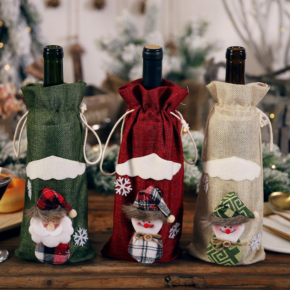 Navidad Santa Claus Merry Christmas Ornaments Christmas Bottle Set Red Wine Champagne Bag Toy Decorations for Home Decoration