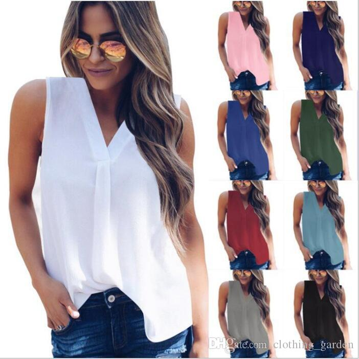 T-Shirt Women Chiffon Blouse Sleeveless Solid Tops Casual Summer Shirts V-neck Tees Fashion Tunic Blusas Women Clothing Vestidos 2019 C5445