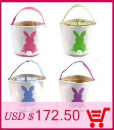 Wholesale Easter Bunny Ears Basket Bag Jute Cloth/Burlap Bags Easter Decorations For Home Festival Party Supplies