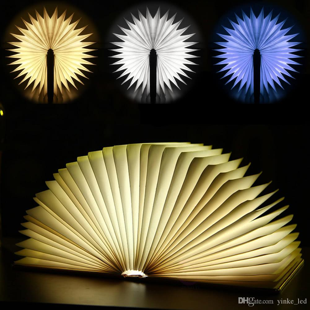 Rechargeable Folding Book Light Desk Table Bedside Lamp Warm White Bedroom Decor Lighting USB Night Lights