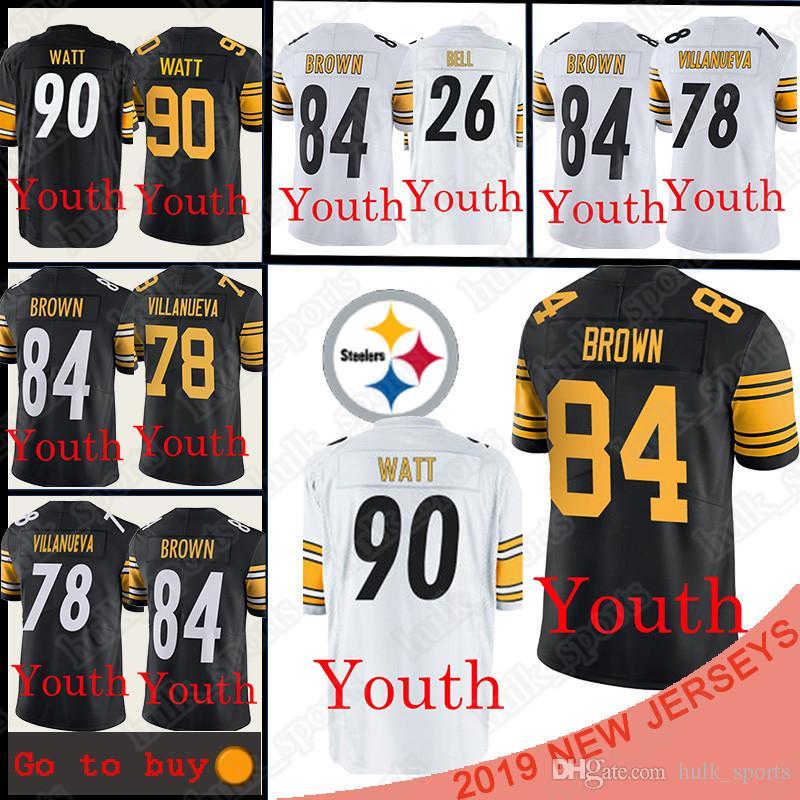 new style 44a86 9a114 Pittsburgh 90 T.J. Watt Steeler jerseys 84 Antonio Brown 26 Le'Veon Bell  jersey 78 Alejandro Villanueva Football Jerseys