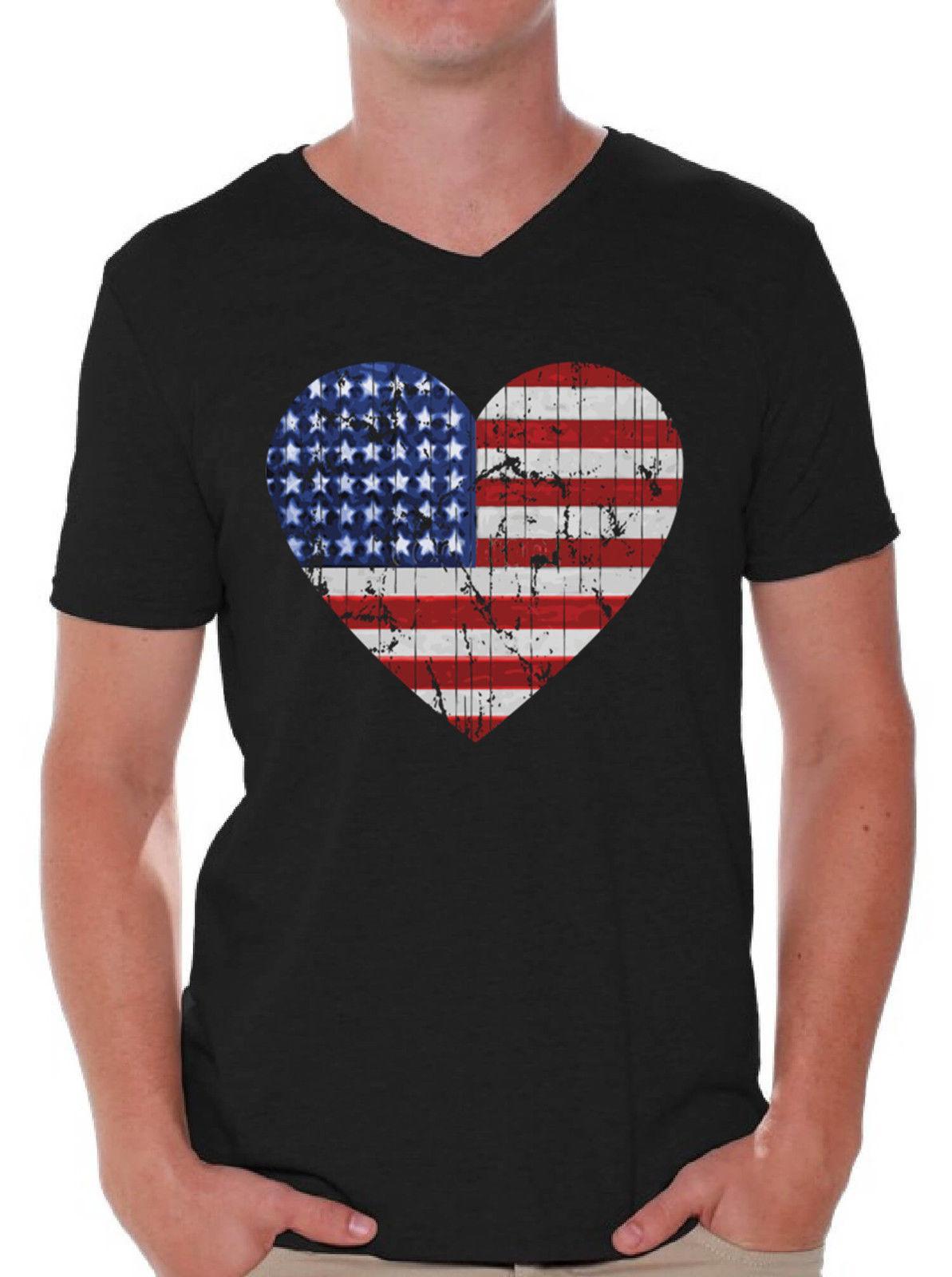 326a0d3ba56a USA Flag Heart Men s V-neck T Shirt USA Flag Vintage American Flag Cool  Xxxtentacion Marcus Discout Hot New Top T-shirt Suit Hat Pink RETRO VINTAGE  Discout ...