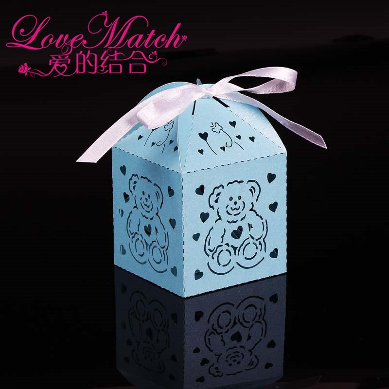 Laser Cut Cute Bear Boxes Baby Shower Favors,Kids Birthday Party Gift Box Chocolate Box and Party Decoration for Baby Gift