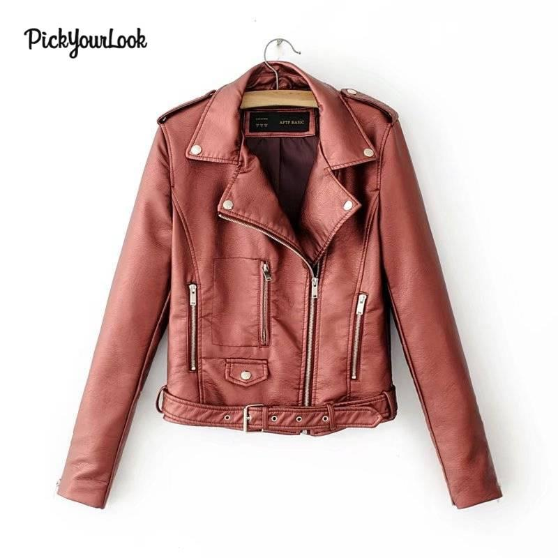 PickYourLook Women PU Jackets Slim Fit Motorcycle Jacket Cool Hip Hop Punk Style Short Outwear Clothes Zipper Pockets Jackets