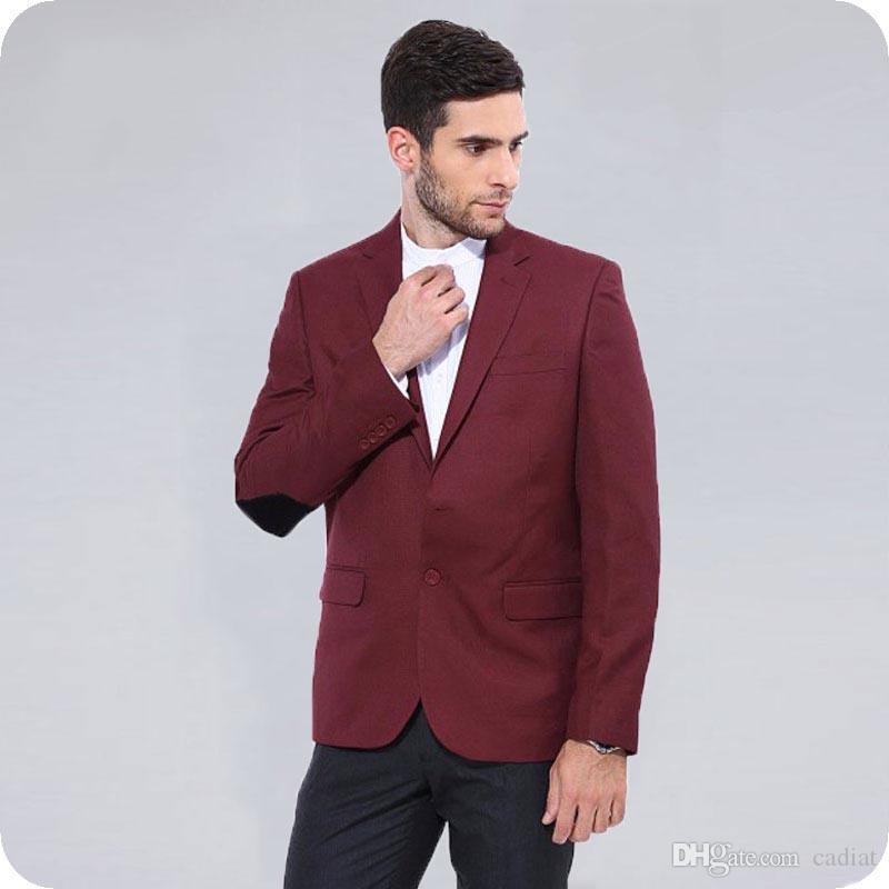9e8506cb8a5c Acquista Ultimi Disegni Gomito Patch Borgogna Uomo Abiti Giacca Blazer  Classico Uomo Business Wear Slim Fit Smoking Smoking 2 Pezzi Uomo Vestito  Nero ...