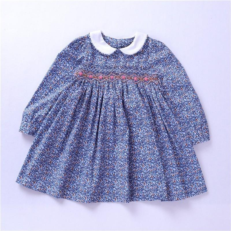 d06687ce7f3ee Spring Girl Smock Dress Long Sleeve Baby Girl Clothes Embroidery Party Kids  Flower Dresses For Girls Princess Dress Holiday J190505
