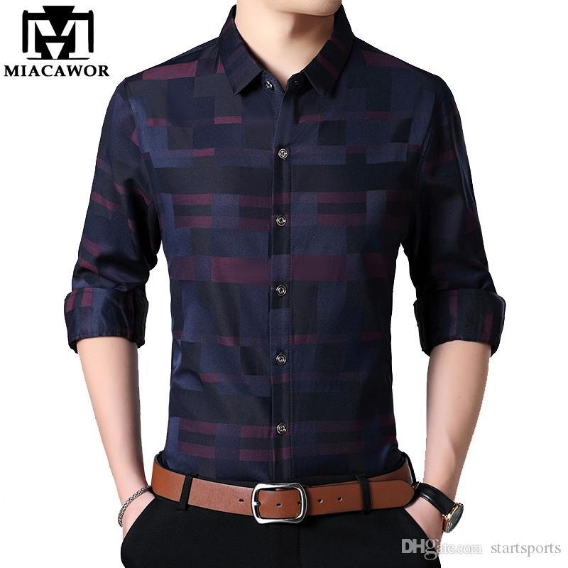 8e221572e9b2 2019 MIACAWOR 2019 New Spring Men Shirt Cotton Business Casual ...