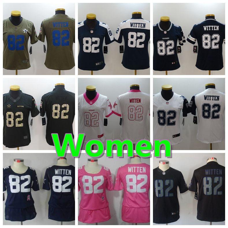 the best attitude 40ea2 2cfad Women 82 Jason Witten Dallas Jersey Cowboys Football Jersey 100% Stitched  Embroidery Jason Witten Color Rush Football Stitching Women Jersey