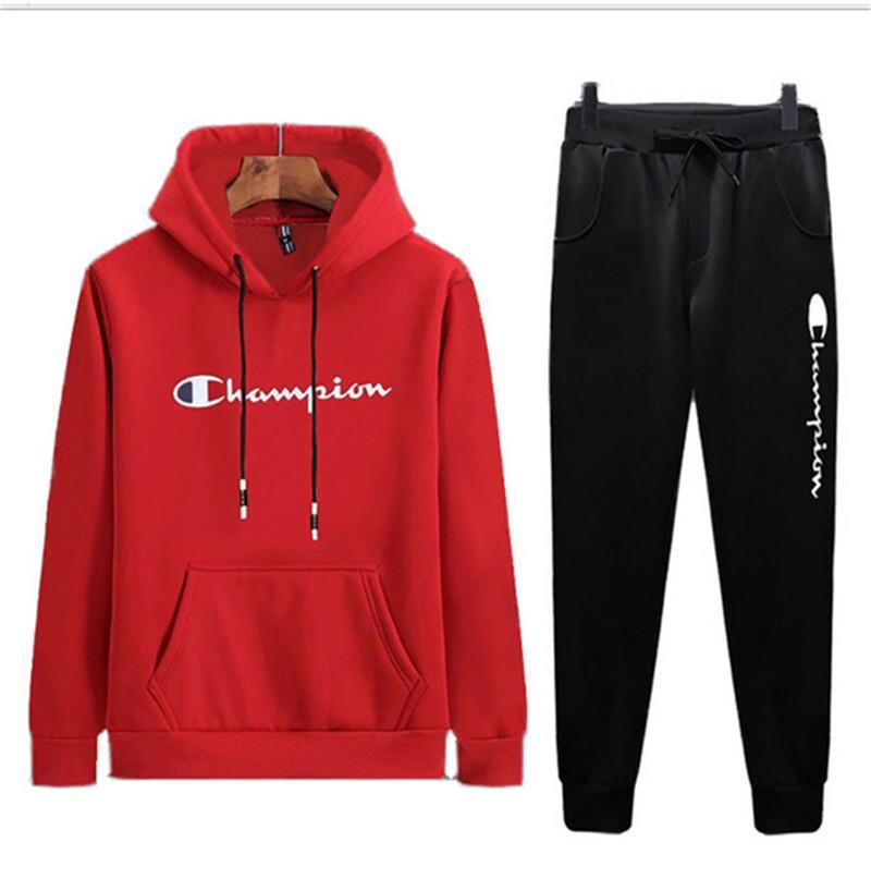 buy online 52c36 a7be2 Champion Marca Agasalho 2019 Estilo Preppy Homens Carta Pullover Hoodies  Calças 2 Pcs Define Roupas Outfit Sweatsuit Roupas Sportswear B82001