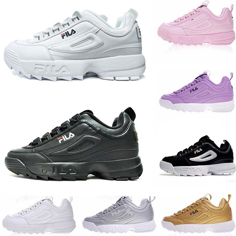 a4c0dcf364b Acheter Vente Chaude Zapatos Fila II Chaussures De Course Triple White Black  Pink Grey Hommes Femmes Lifestyle Mens Fashion Athletic Sneakers Livraison  ...