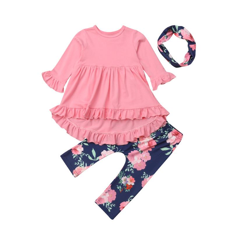 bc7c6a082 2019 Kids Baby Girls Princess Outfits Long Sleeve Tops Dress Floral ...