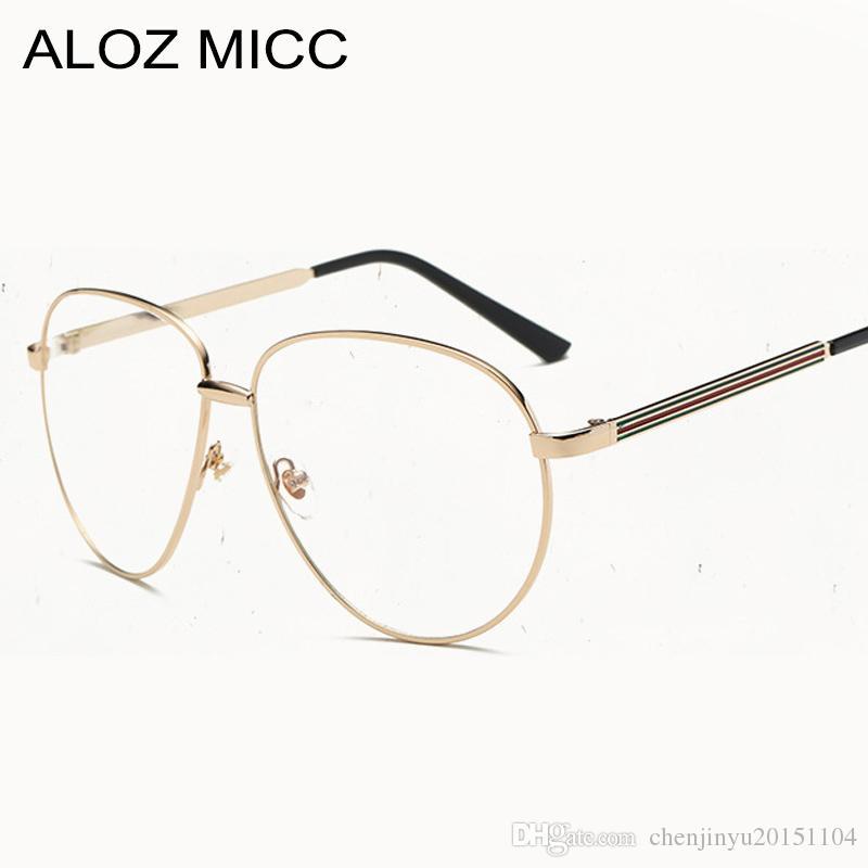 fdee558cfa6f9 ALOZ MICC Fashion Pilot Vintage Metal Frame Frames Women Men s Eyewear  Optical Frame Unisex Brand Glasses Clear Glasses A106
