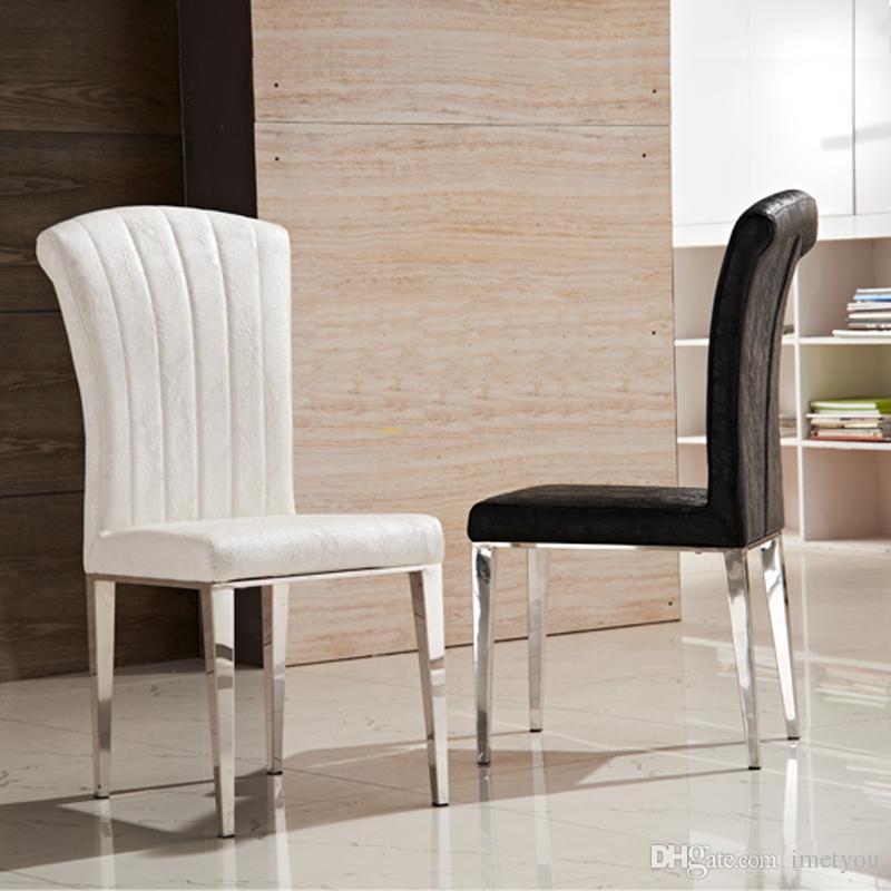 Sillas de comedor de cuero de acero inoxidable de primera calidad Sillón de  cuero de PU blanco y negro de alta silla de comedor con respaldo alto ...