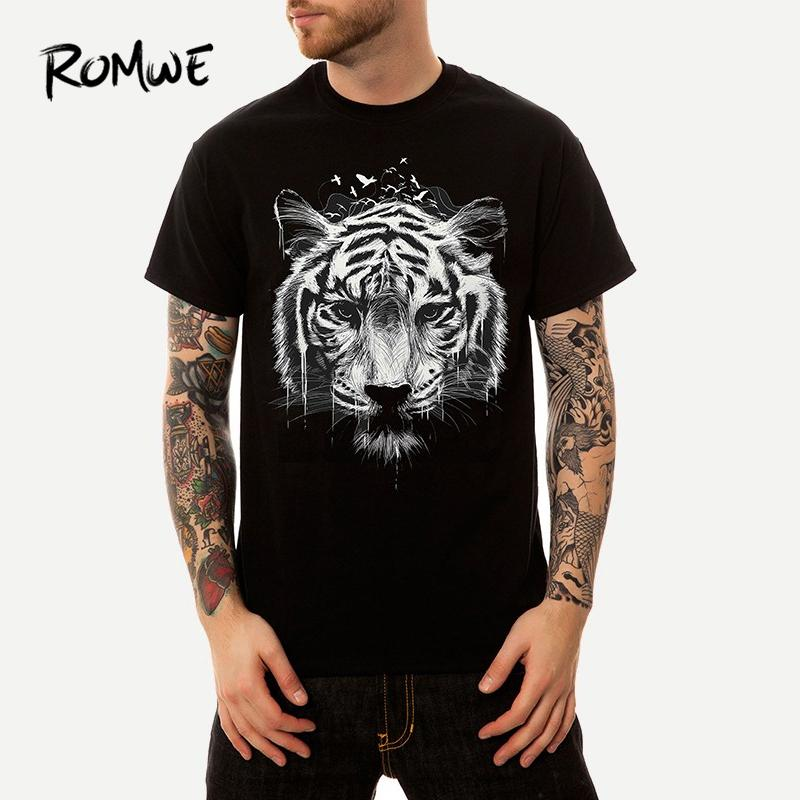 Men Tiger Print Tee 2019 Posh Basic Stylish Black Short Sleeve Tops New  Arrival Male Summer Animal Round Neck Tee As T Shirt Online T Shirts Buy  From ... 030c096e43ea